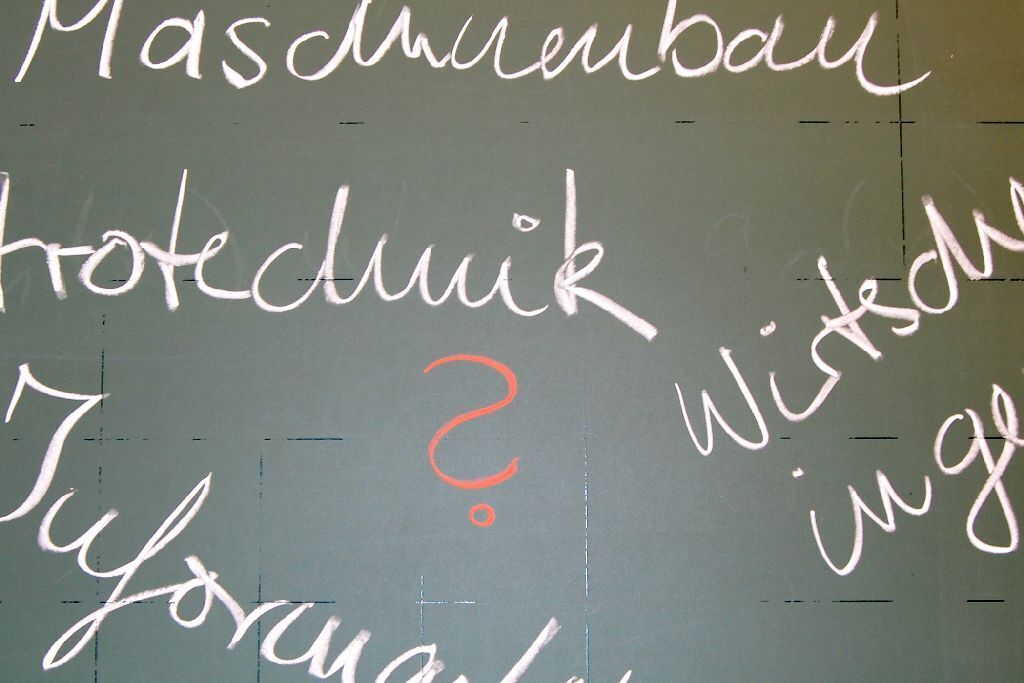Words and a question mark on a chalkboard