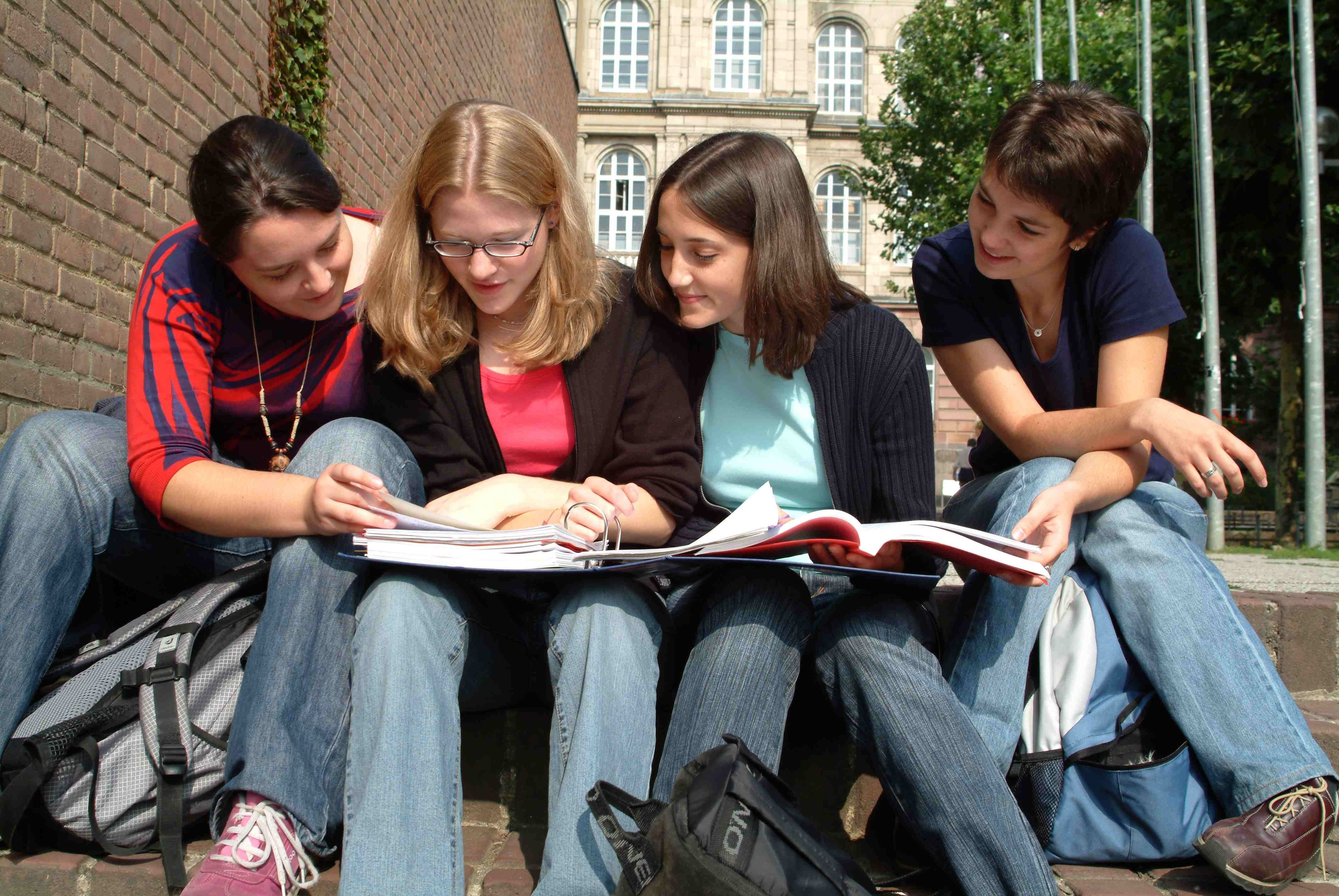 Students reading brochures