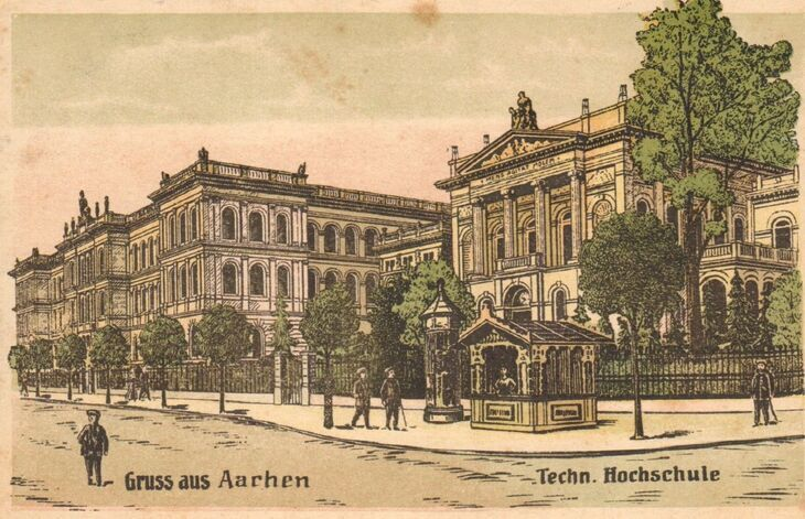 old postcard of the main building and chemical laboratory